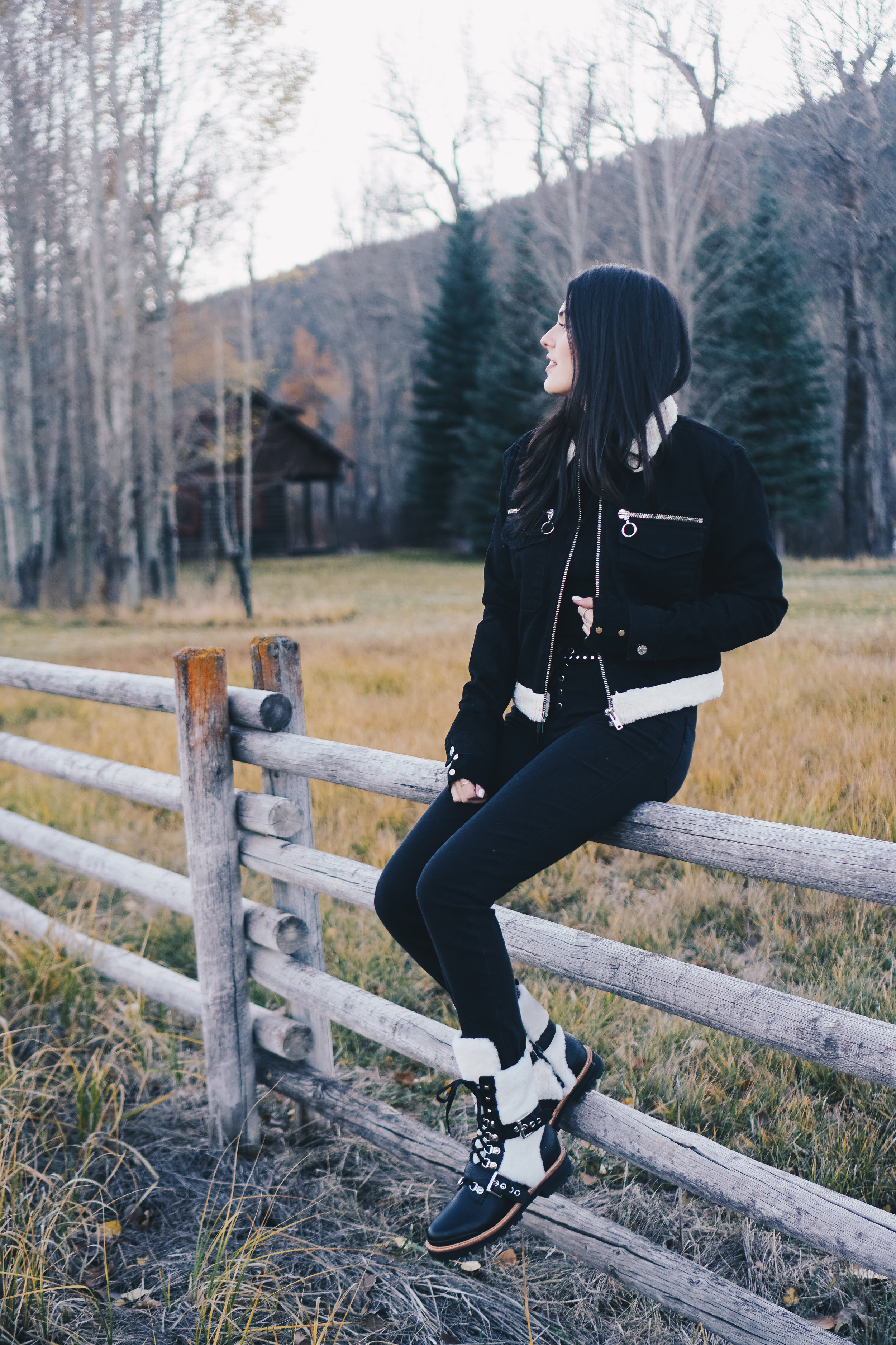 Shearling Boots and Denim Jacket | Montana Style