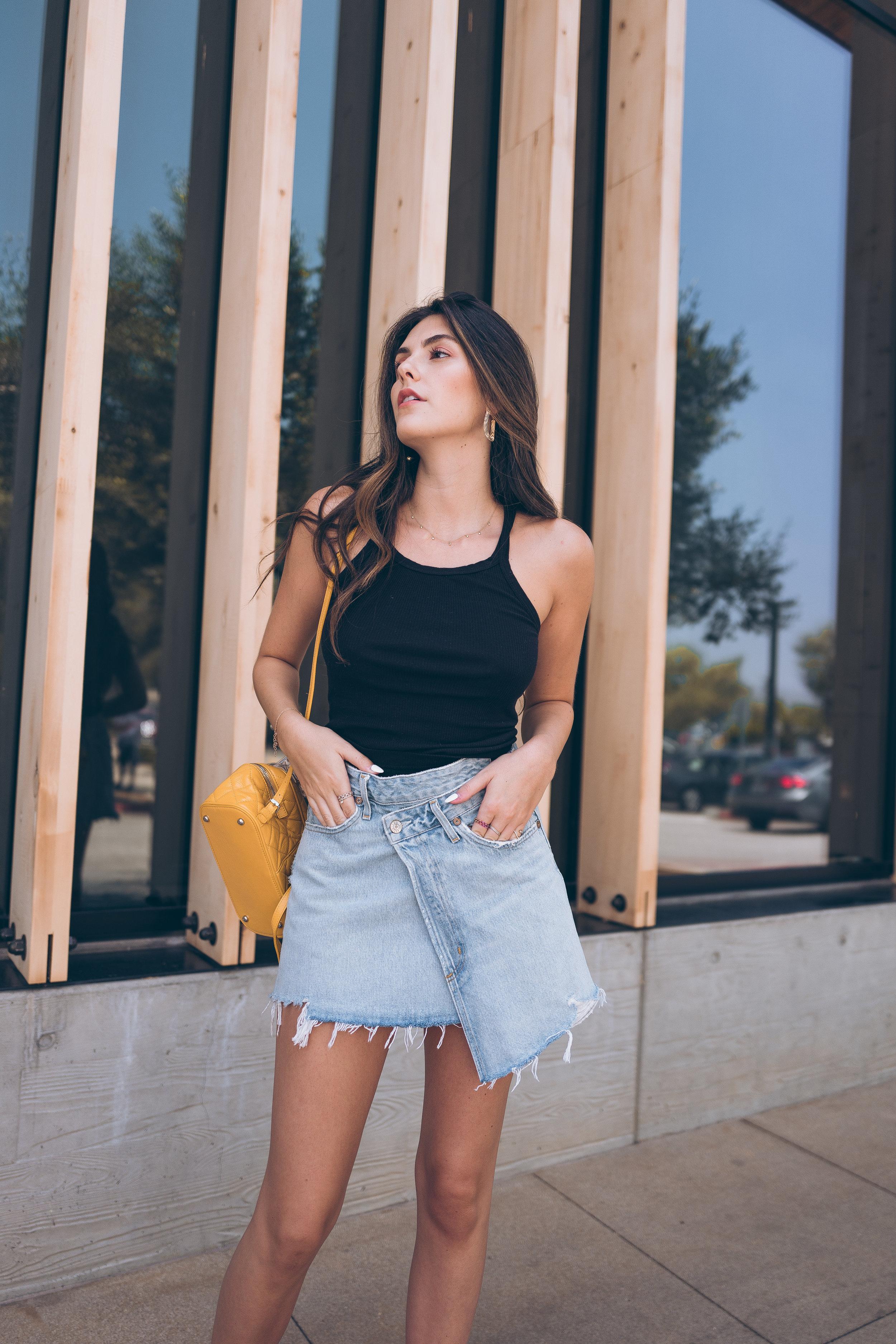Everyday Summer Wardrobe Basics Julia Friedman Summer Outfit Inspo AGOLDE Skirt Jean Skirt Yellow Chanel Backpack  Beach Waves Summer Hair
