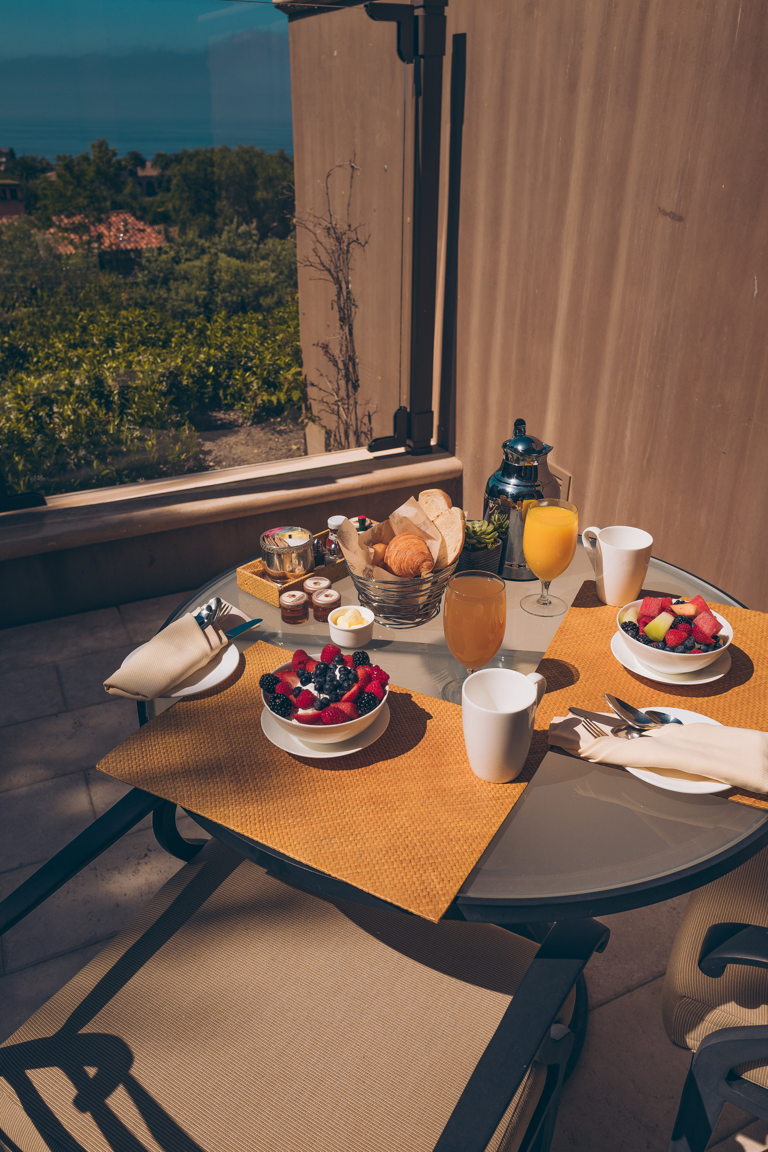 Breakfast on our Terrace.