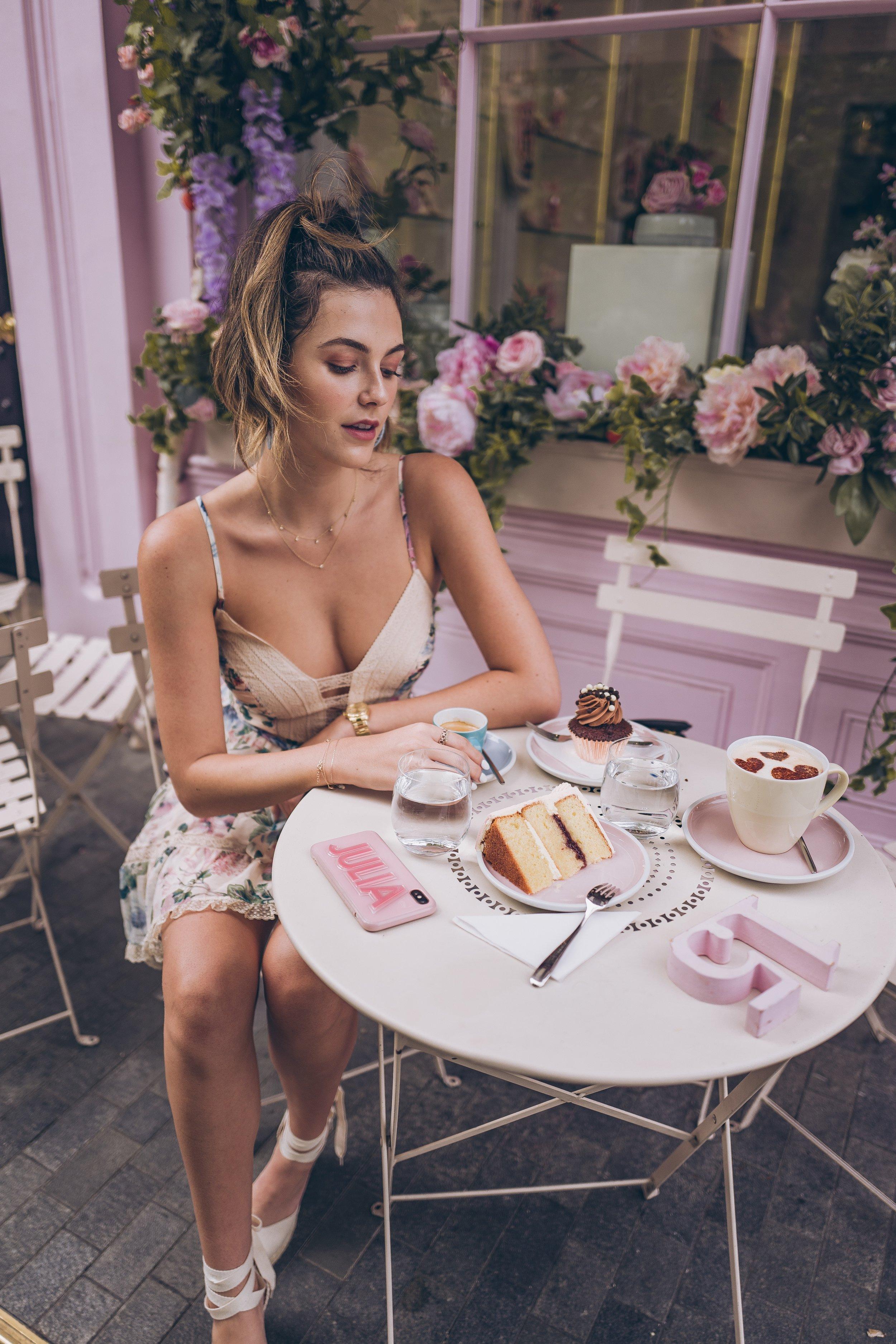 Julia friedman Peggy Porschen cakes London wearing Zimmermann dress