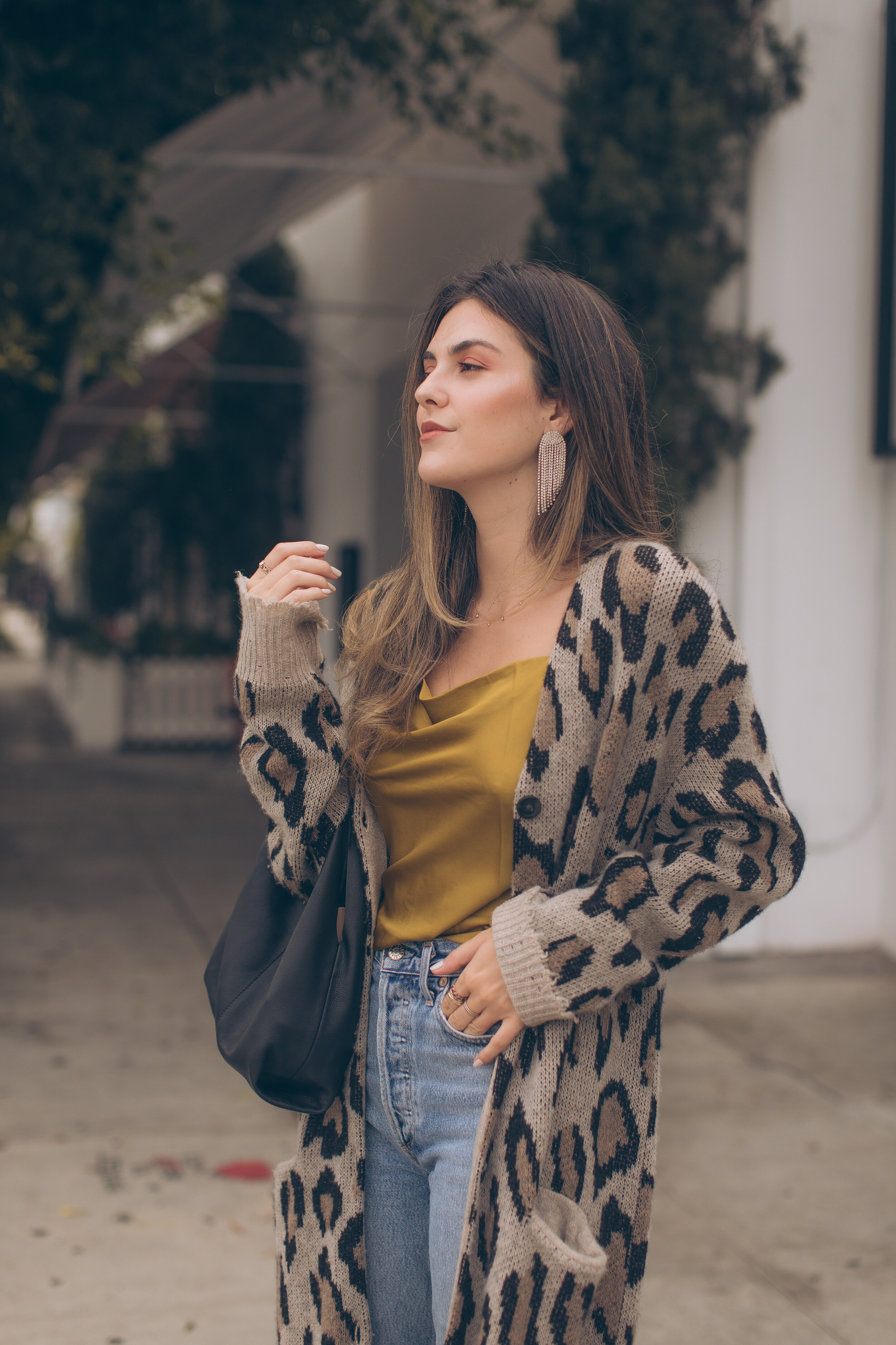 fall sweaters layering fall cardigans fall style Julia friedman  r13 long leopard cashmere cardigan