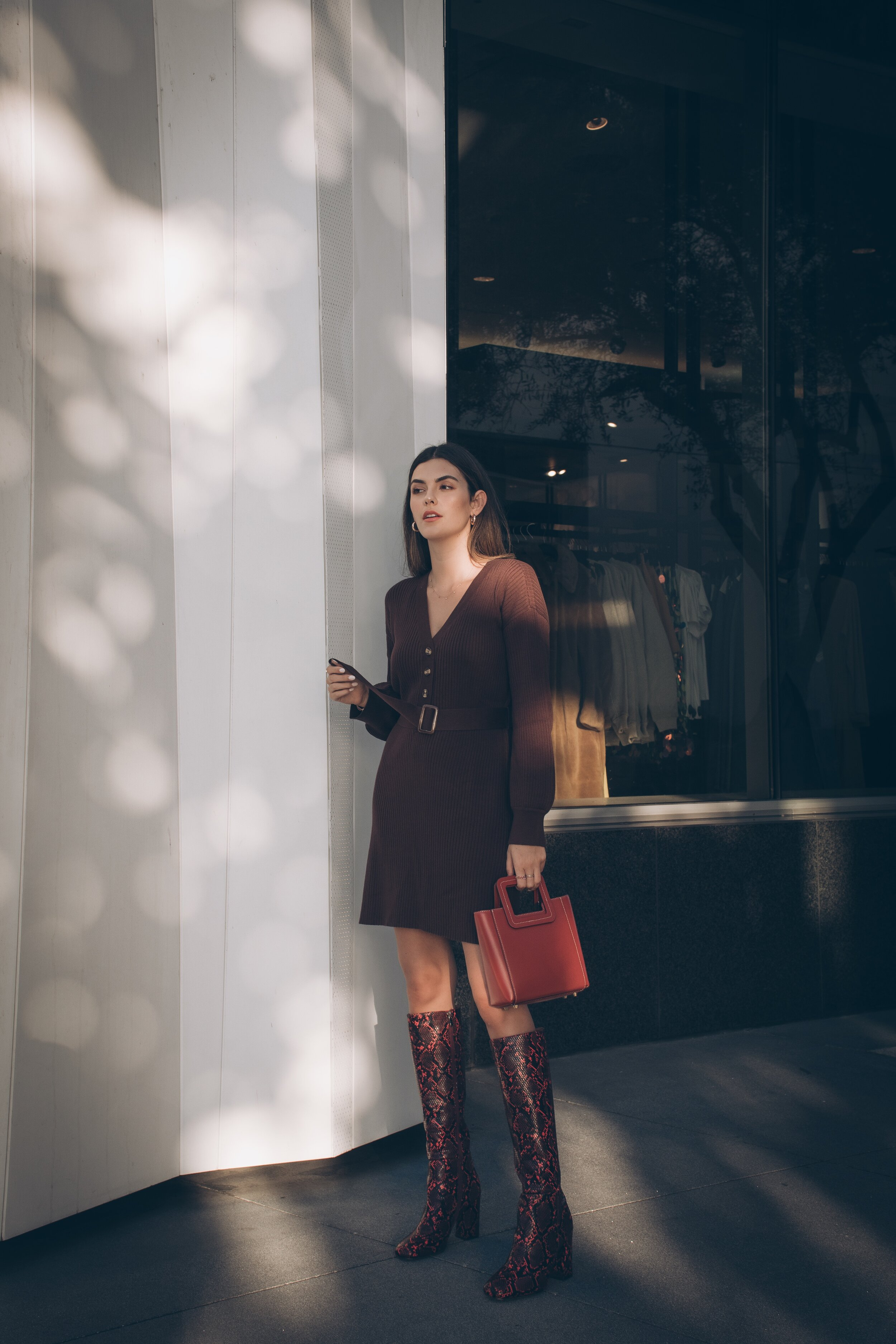 Statement Boots: 3 Boot Trends I'm Loving Julia Friedman wearing Song of Style Dress from Revolve