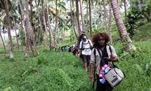 On our way to the Siloe Village in Santo
