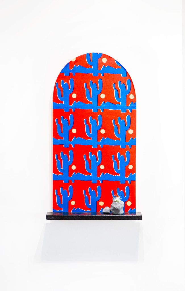 'it's hot outside', Jordan McQuaid, Silkscreen, enamel, wood, plasticine and cactus.