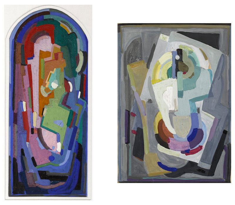 (Left) Abstract Composition, Gouache, 53 x 22 cm. (right) Cubist Composition, Gouache On Card, 30 x 22 cm. · Image credit:   Whyte's