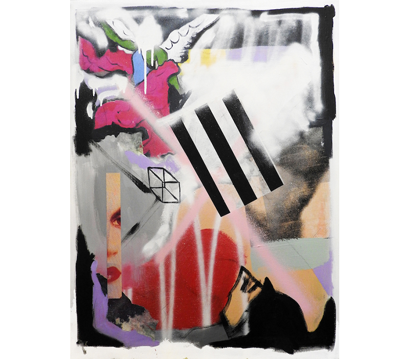 'Untitled Composition', Silkscreen on paper, silkscreen ink, acrylic, spray paint and paper on canvas. Photo credit:  SO Fine Art Editions