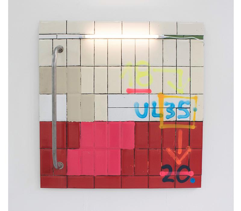 'Bath House', Mixed media on tile, 122 x 120 cm, 2018. Photo credit:  Stephen Burke