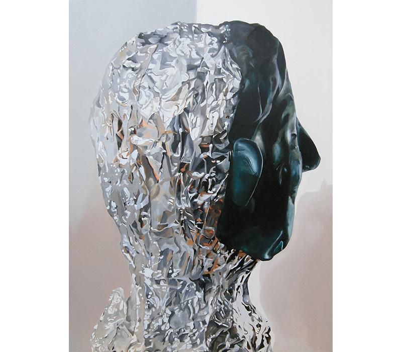 'Tinfoil Figure', 2017, Oil on Panel, 60 x 80 cm. Photo credit:  Eleanor McCaughey