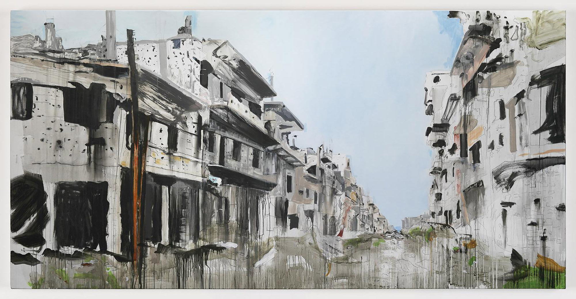 Aleppo 4 , 2017, acrylic on linen, 400 x 200 cm. Photo credit:  Kerlin Gallery