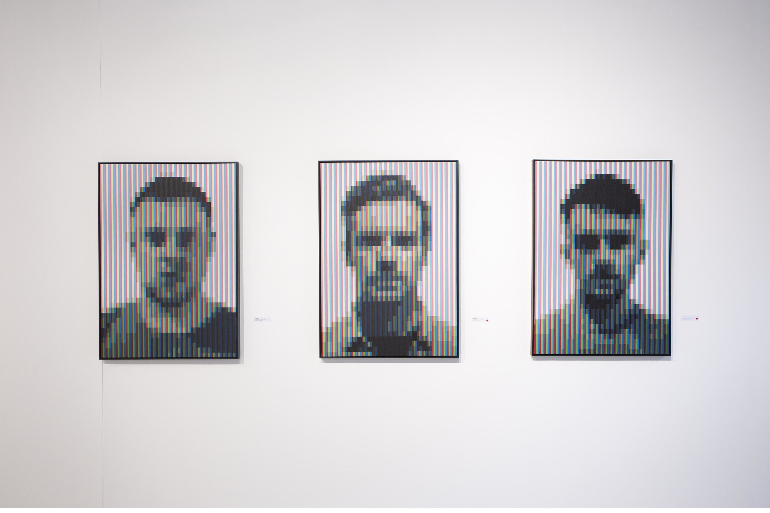 Left to Right: 'DI_07', 'DI_06', 'DI_05', 2019, Spray Paint on Canvas, 70 x 100 cm, Atelier Maser.