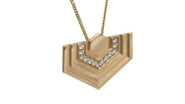 Diamond Hexagon Pendant, 14CT Gold, Edge Only.
