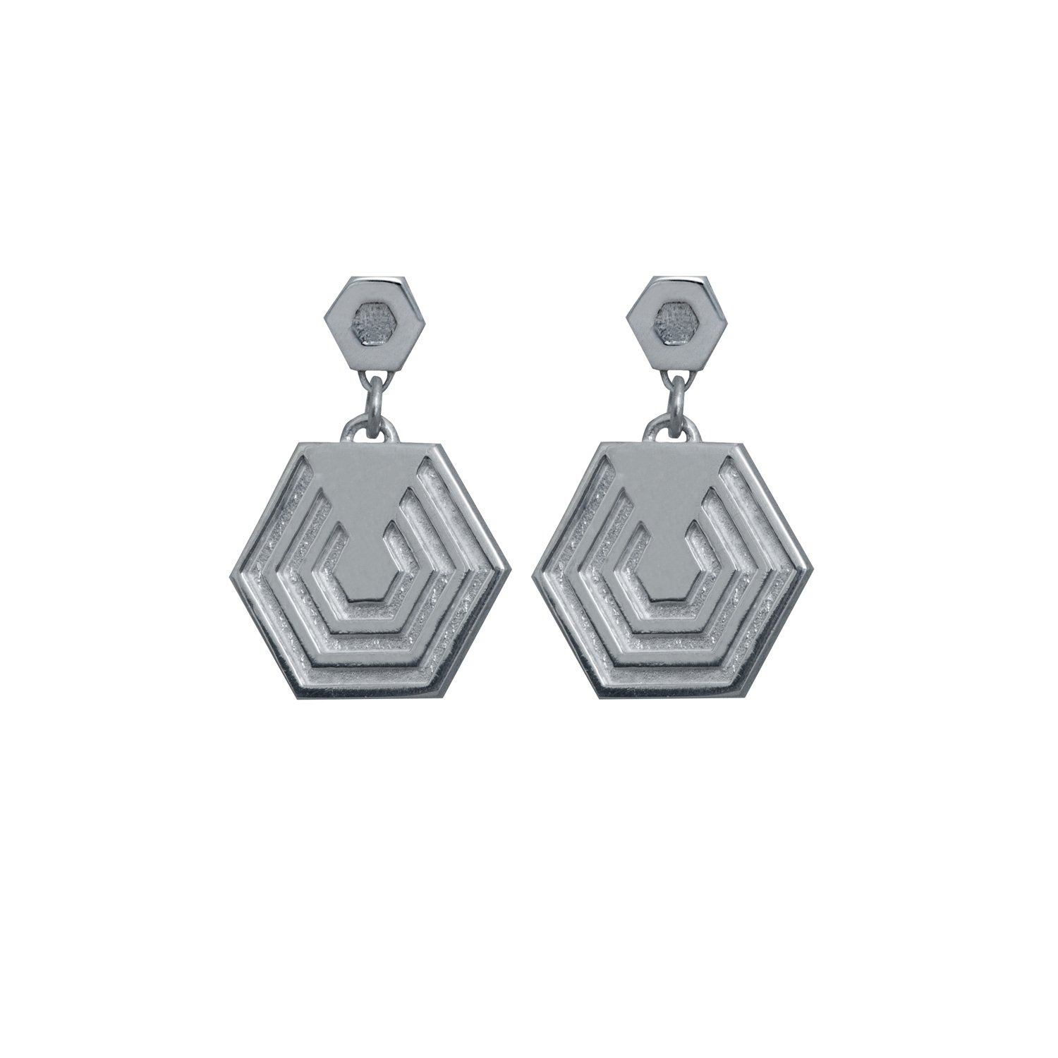 Hexagon Drop Earrings, Polished Sterling Silver, Edge Only.