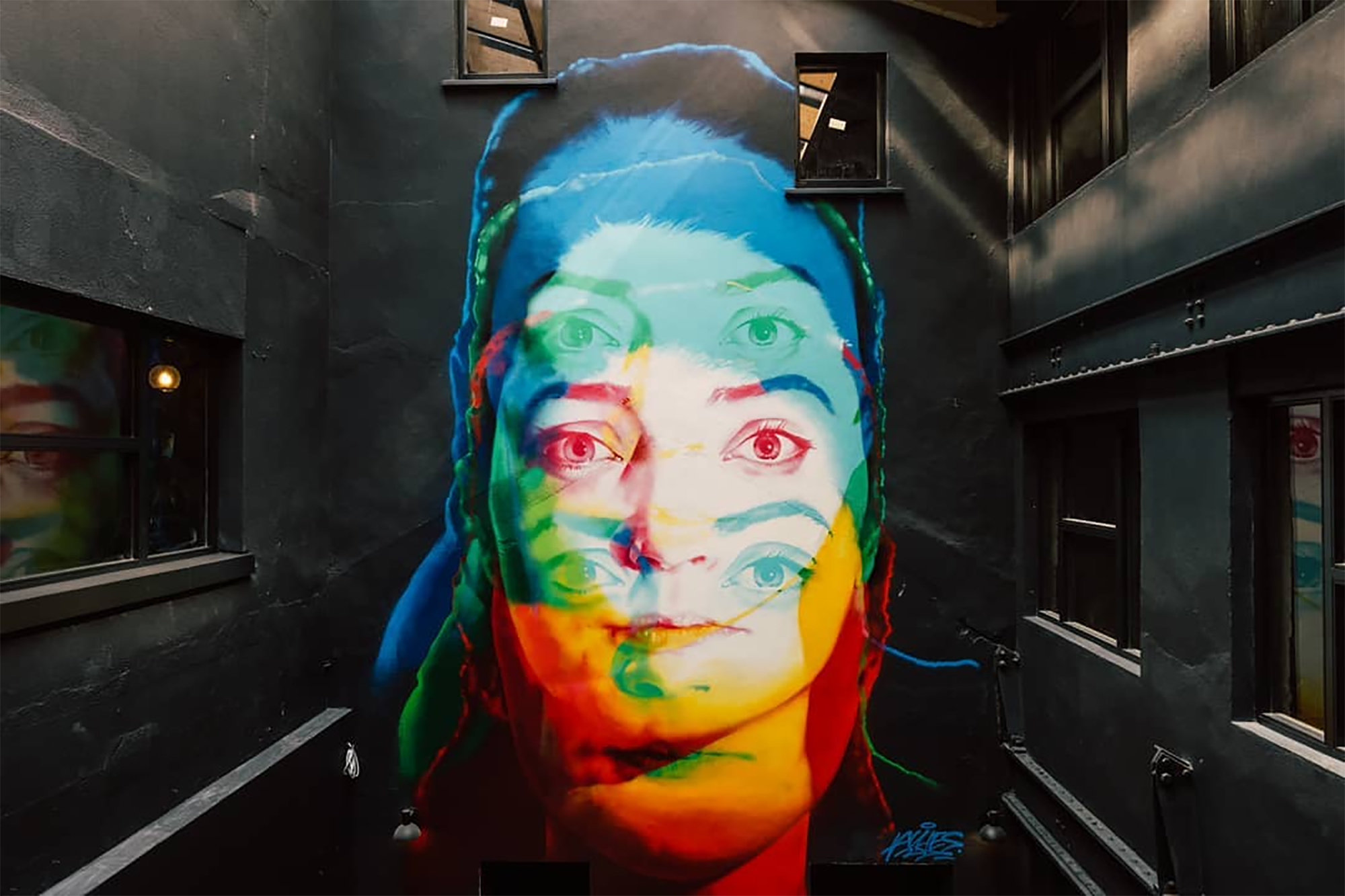 'Portrait', 2019, Spray Paint, Iconic Offices, Dublin. Photo Credit:  Iconic Offices