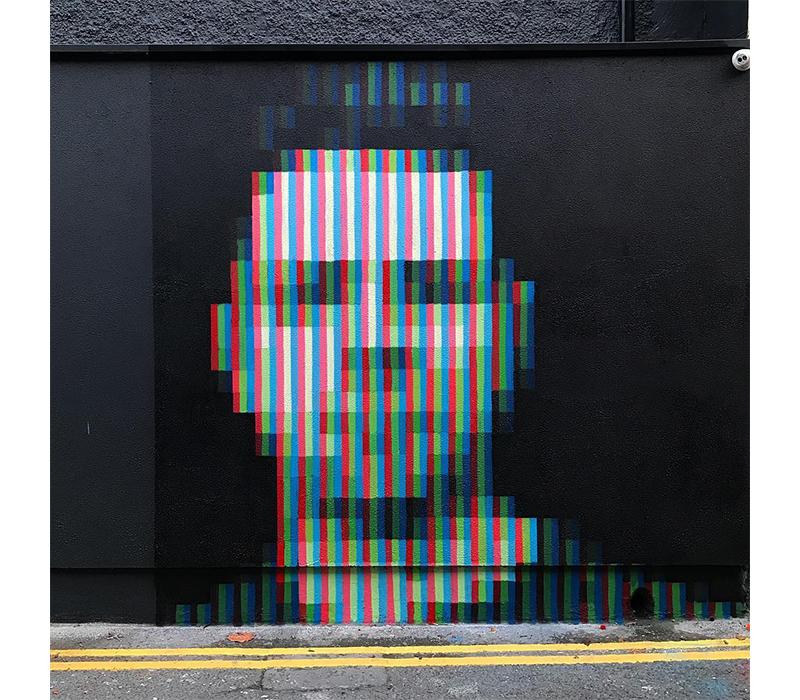 'Sub-pixel Portrait', 2018, Spray Paint, Dublin. Photo credit:  Aches