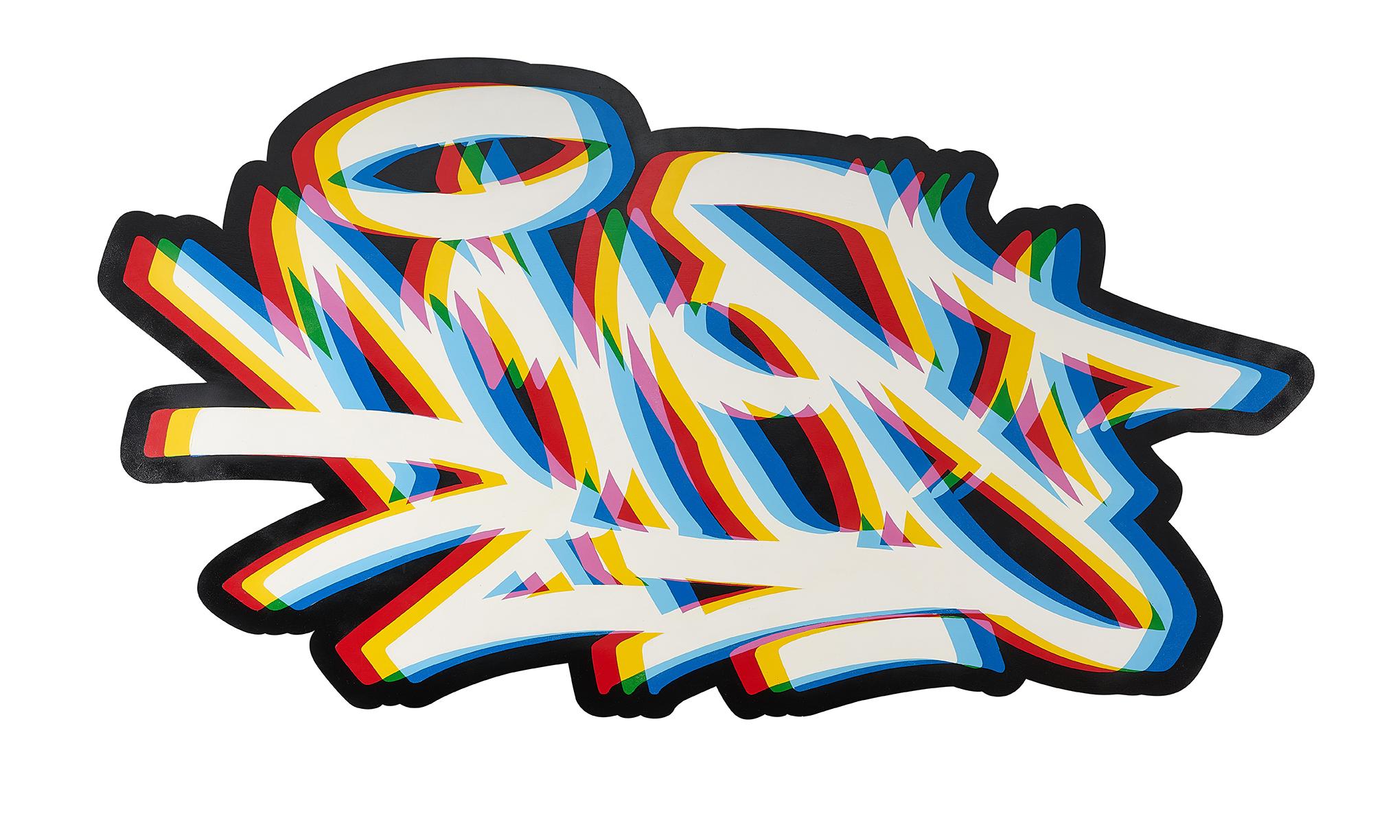 'Aches_01', 2019, Spray Paint on Wood, 100 x 700 cm, The Hendrick.