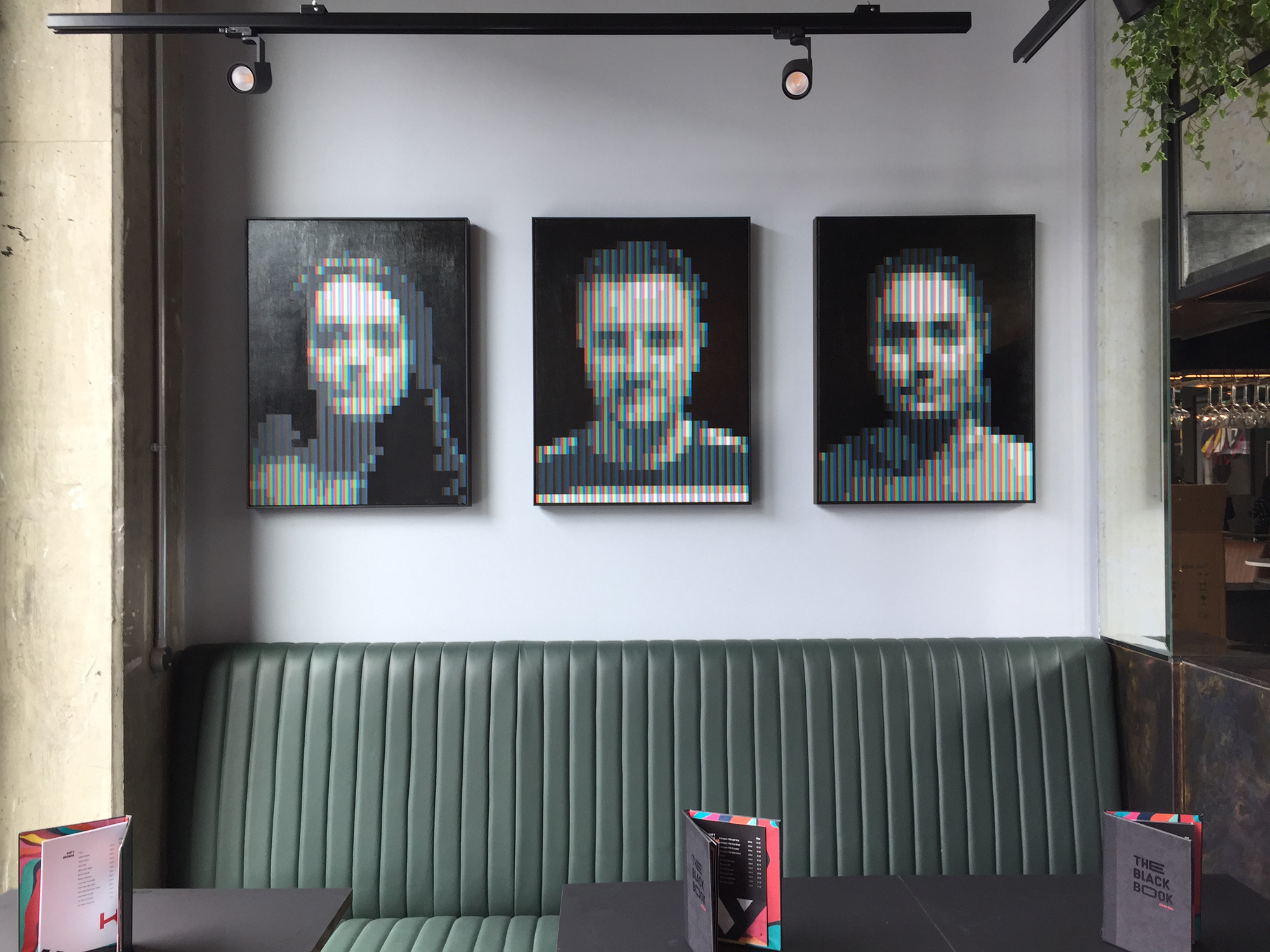 Left to Right: 'Spp_01', 'Spp_02', 'Spp_03', 2019, Spray Paint on Canvas, 60 x 80 cm, The Hendrick.