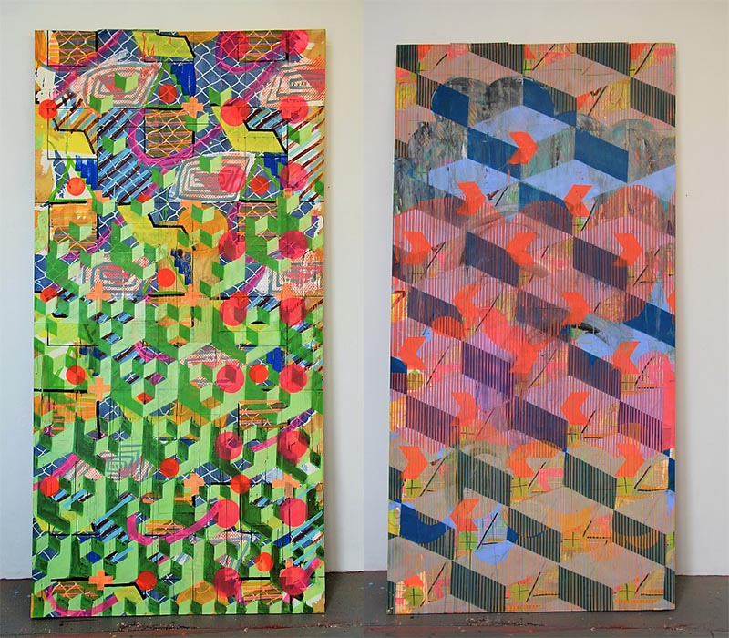 Left: 'Atari', Right: 'Gobble Up', 2018, Acrylic, Lacquer and Wallpaper on Wood Panel, 4 x 8 ft. Photo credit:  Leah Hewson