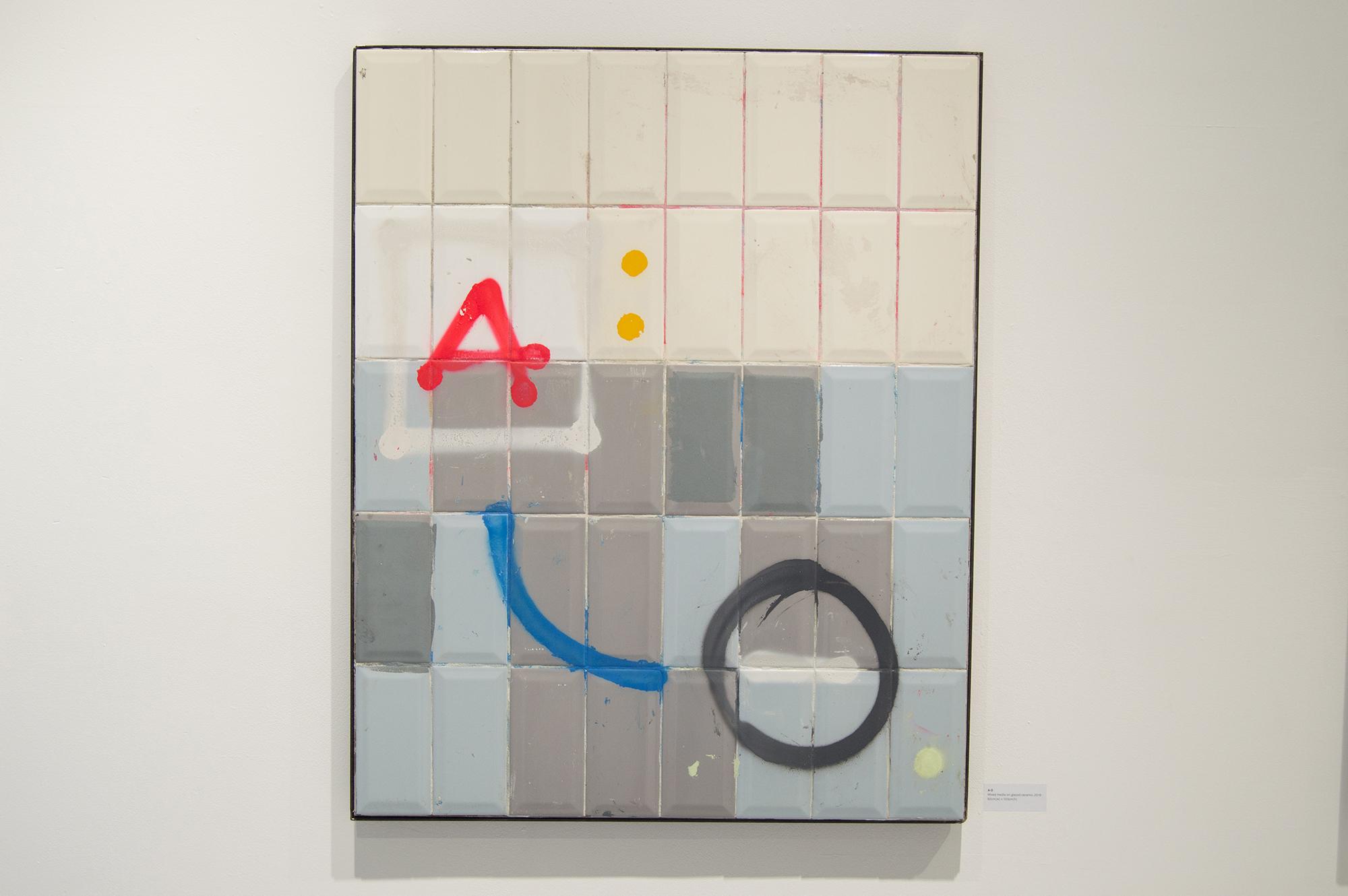 'A-O', 2019, Mixed Media on Glazed Ceramic, 82 x 103cm, Atelier Maser.
