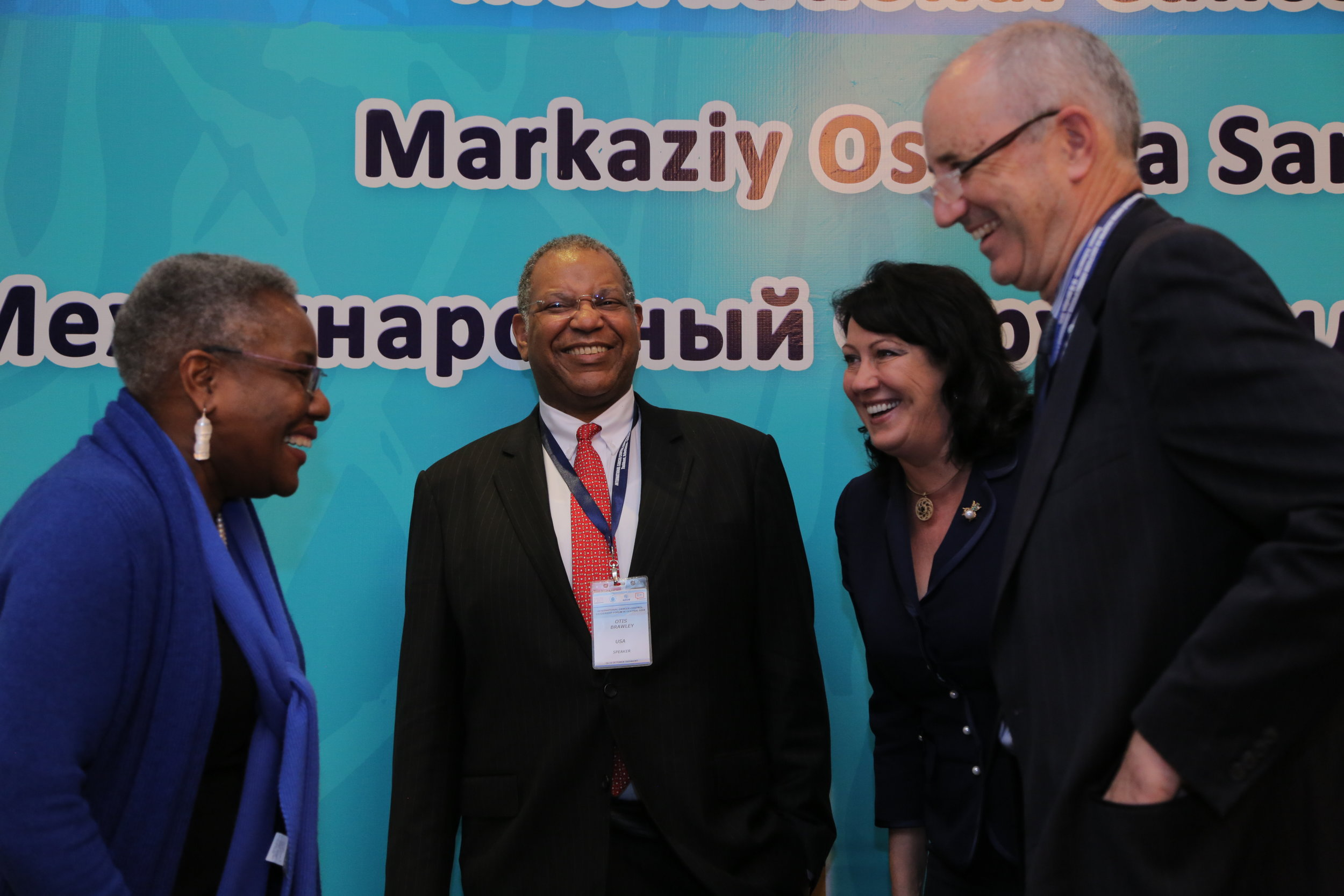 (Left to Right)  Pamela Spratlen , U.S. Embassy,  Otis Brawley , Johns Hopkins University,  Sophia Michaelson , AECA, and  Ted Trimble , U.S. NCI, at the International Cancer Control Leadership Forum held in Uzbekistan