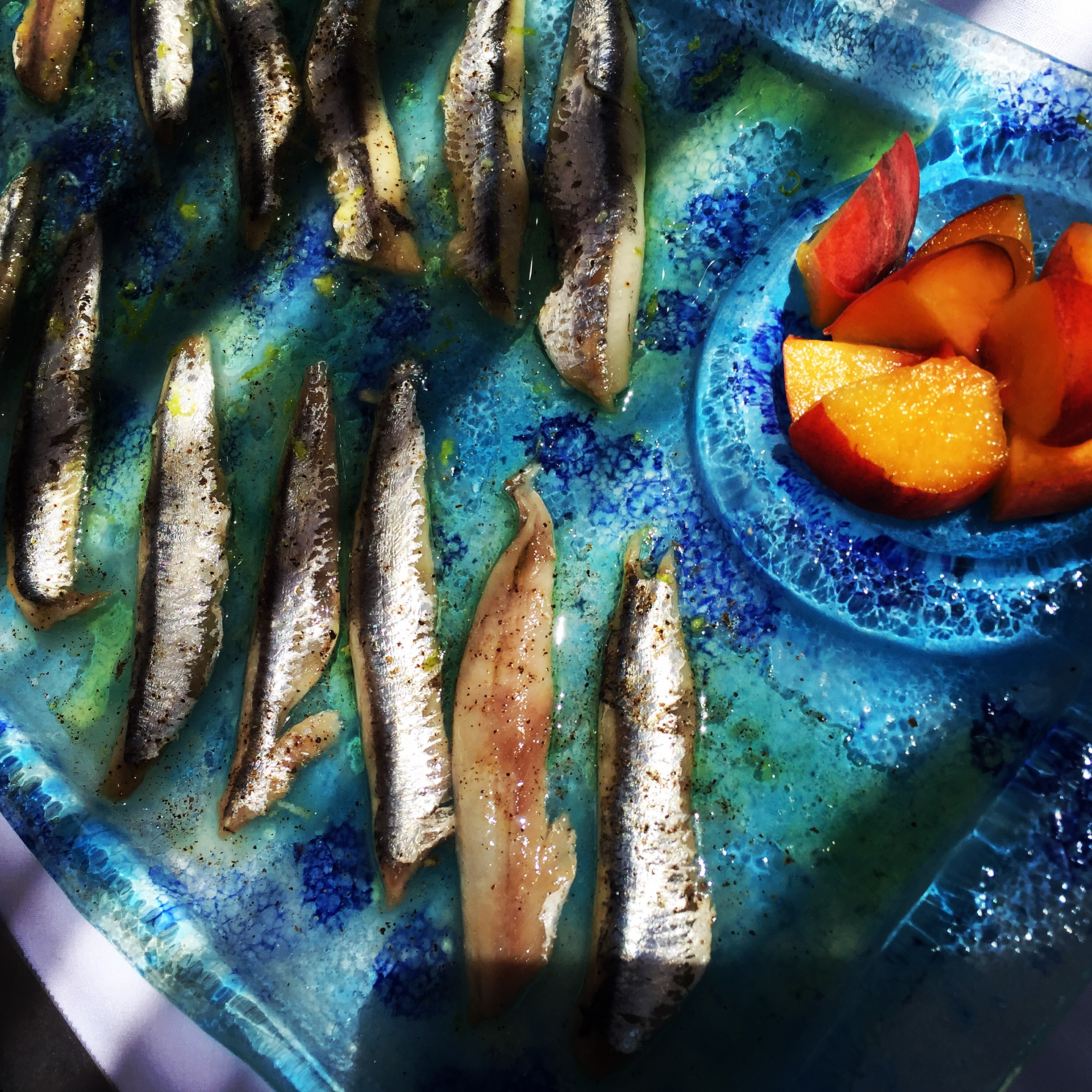 Marinated anchovies and peaches - Marzamemi