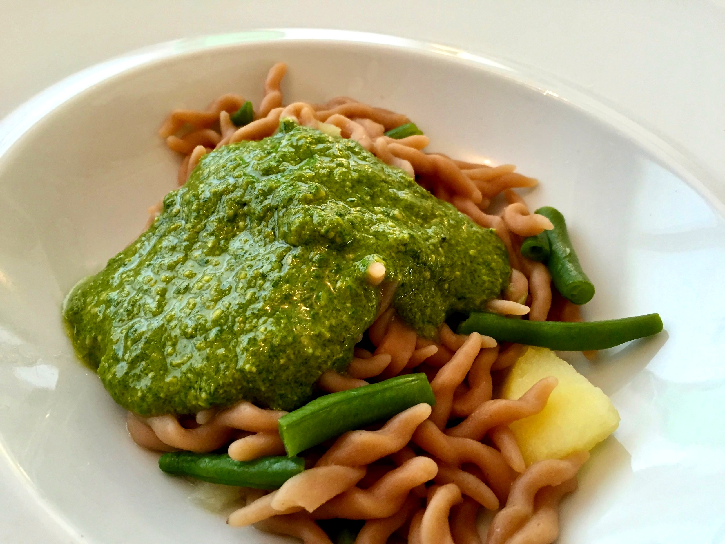 Traditional pesto with chestnut trofie and season greens - Manuelina