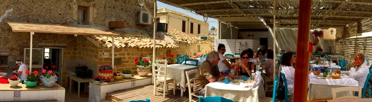 Lunch on the terrace of fishing village - Marzamemi