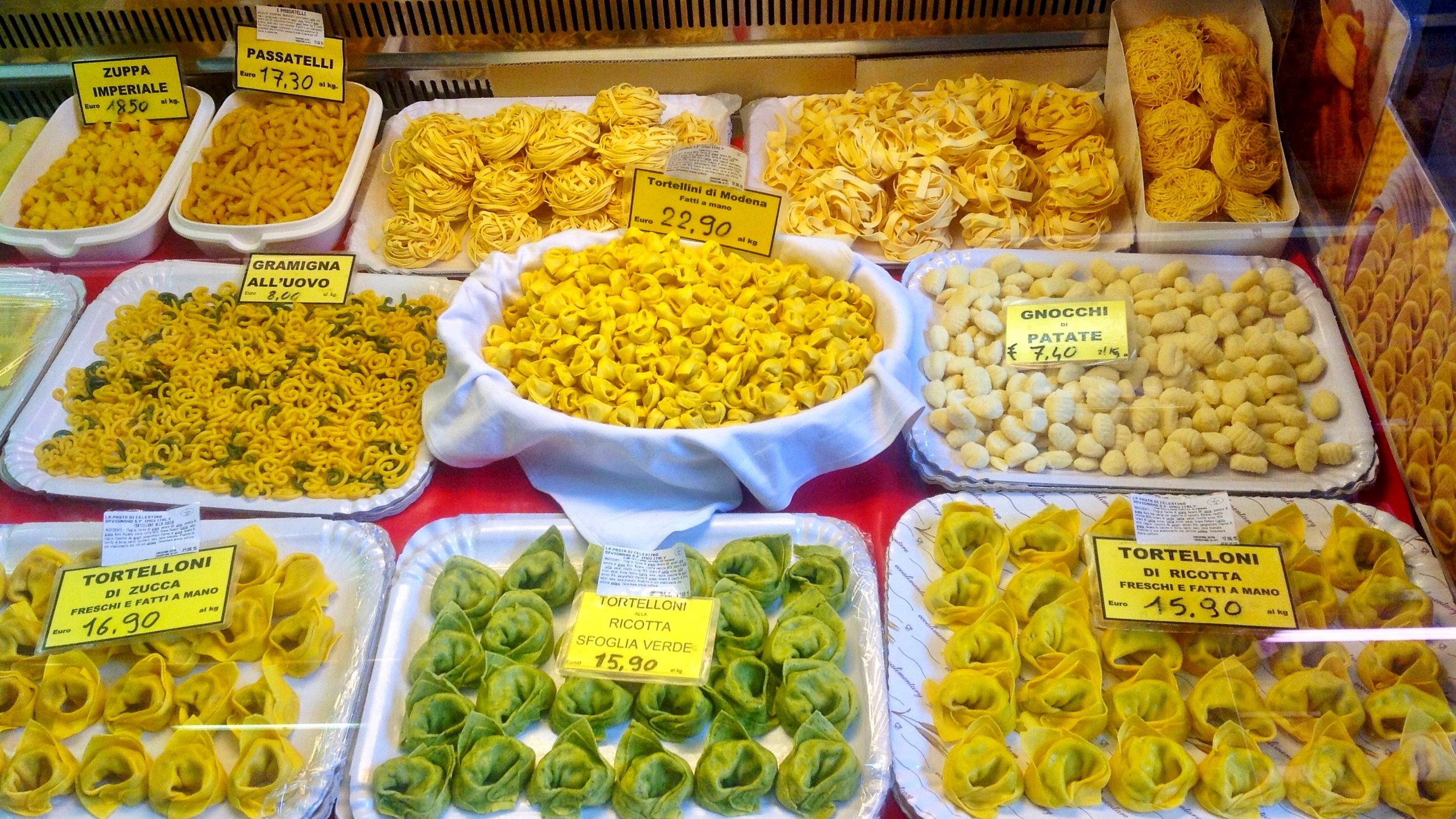 A temple of pasta lovers, with the famed tortellini and tagliatelle and lesser known passatelli and imperiali - Albinelli Market in Modena