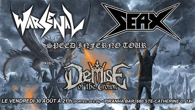 We start our tour next week, kicking it off in our hometown. It's been a while since we've headlined a gig in Montreal. Can't wait to rage with all of you and let's show the boys of @seaxmetal how we do it!  @demiseofthecrown  #Warsenal #thrashmetal #speedmetal #heavymetal #metal #montreal #seax #demiseofthecrown #piranha #friday #getdrunk