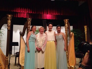 August 2015 - Performing as part of a harp quartet in Bangkok. The event was organised by the  Tamnak Prathom Harp Centre .