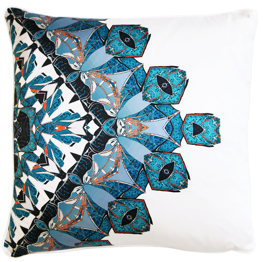 An intricate network of symmetrical shell shapes are geometrically arranged on the silk to create a jewel-like effect. The intense blue tones give this Coral print a stylish and contemporary yet timelessly elegant look.