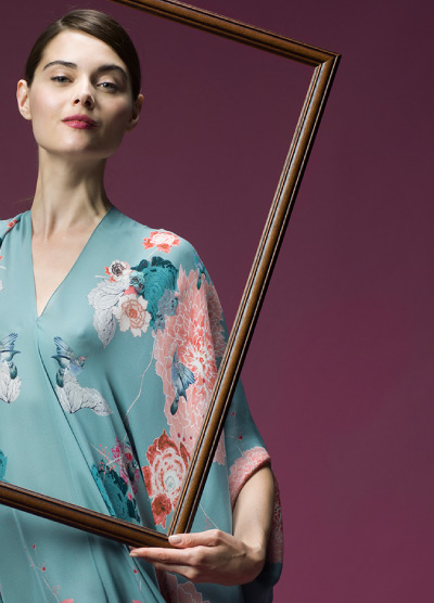 MENG Campaign Shoot Nightingale Collection Front View Blue Kimono Pastel Floral Detail