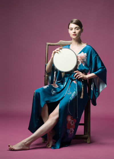 MENG Nightingale Campaign Shot Blue Kimono Pink Floral Detail