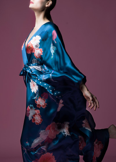 Side View Detailed Blue Kimono with Pink Flowers