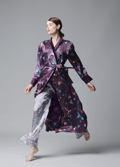 MENG Nigthingale Collection Maroon Kimono and Pastel Pyjama Trousers