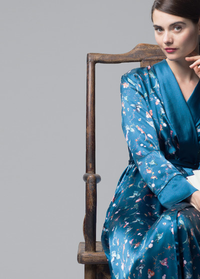 MENG Nightingale Collection Blue Kimono with Pink Intricate Details
