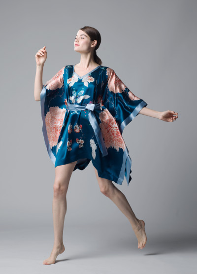 MENG Nightingale Collection Short Kimono Blue and Peach