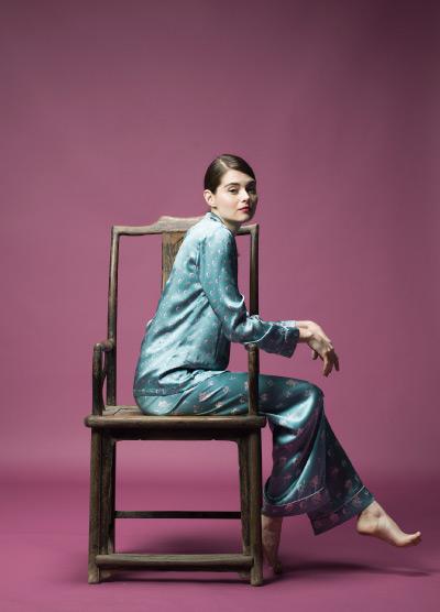 MENG Light Blue Silk Pyjama Set Side View Campaign Shoot