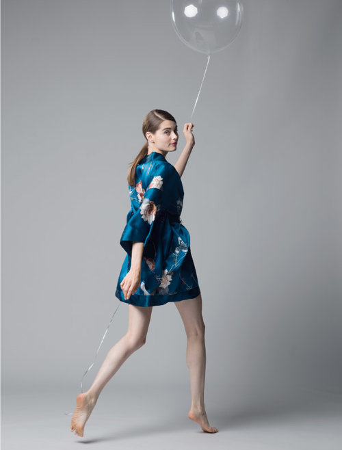 MENG Nightingale Collection Short Kimono Blue and Peach Back View