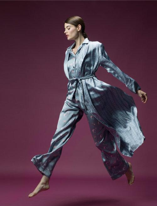MENG Nightingale Campaign Shoot Silk Kimono and Pyjama Set