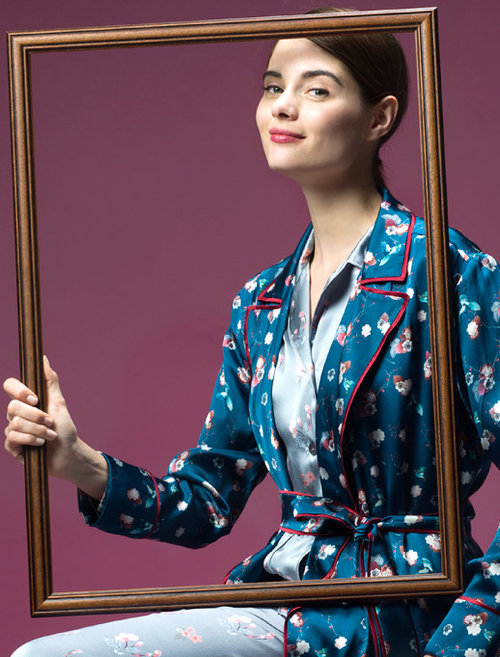 MENG Womenswear Nightingale Campaign Blue Kimono Red Lining