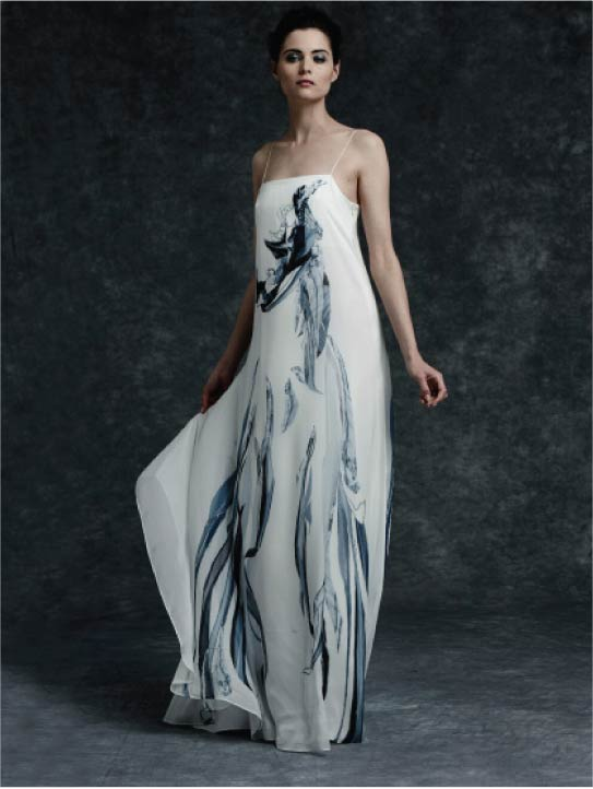MENG Womenswear Cinderella Collection White Gown Shadows Details