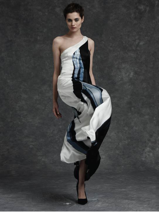 MENG Womenswear Cinderella Collection Campaign Shot Asymetric White Black Blue Dress