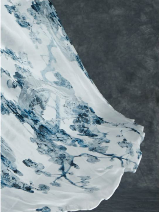 MENG Cinderella Collection Close Up Blue Details on White Silk