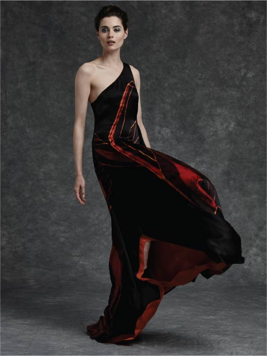 MENG Cinderella Collection Womenswear Flame Dress Red Black Silk