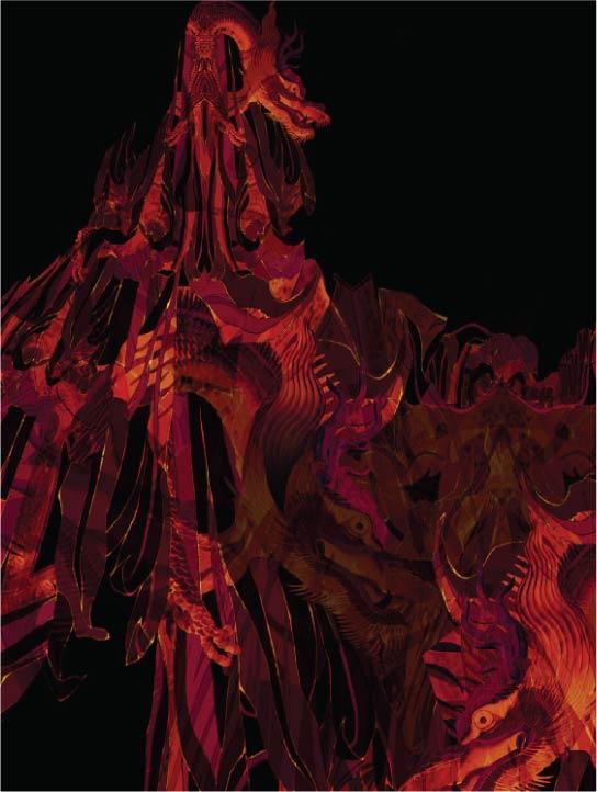 MENG Womenswear Close Up Details Flames on Black Silk