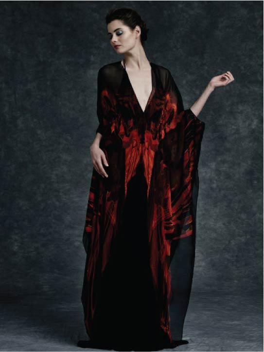 MENG Ignite Dress Cinderella Collection Black Red Silk Cover Dress Kaftan