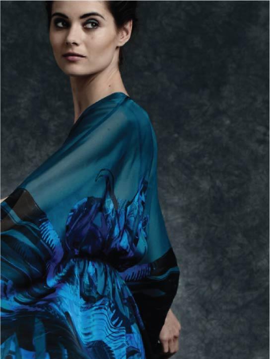 Side View Womenswear MENG Rich Blue Hued Silk