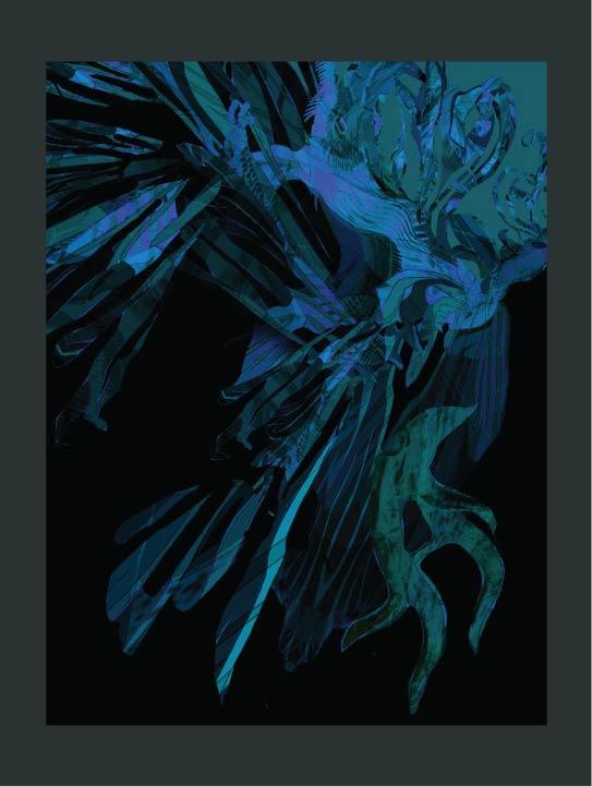 MENG Print Deep Rich Blue Hues on Black Canvas