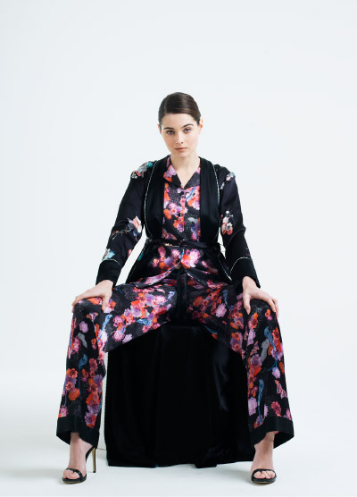 MENG Songs of Forest Bold Floral Patterned Pyjama set and Black Kimono