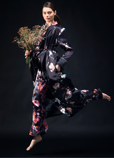 Black Kimono and Pyjama Set Campaign Shot with Bouqet of Flowers